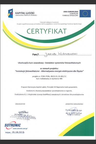 Kurs zawodowy z zakresu montażu instalacji PV