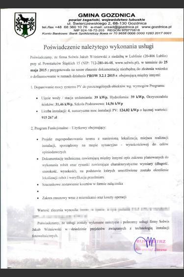 Projekty technologiczne mikroinstalacji dla oczyszczalni ścieków, Stacji Uzdatniania, Szkoły