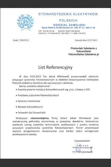 Rekomendacja szkoleniowa SEP Zamość