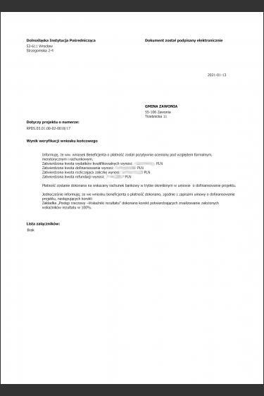 Pozytywny raport pokontrolny prowadzonego projektu RPO