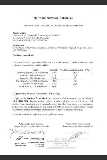OŚ Żórawina - PFU, studium wykonalności, wniosek o dotację z RPO WD 3.1a